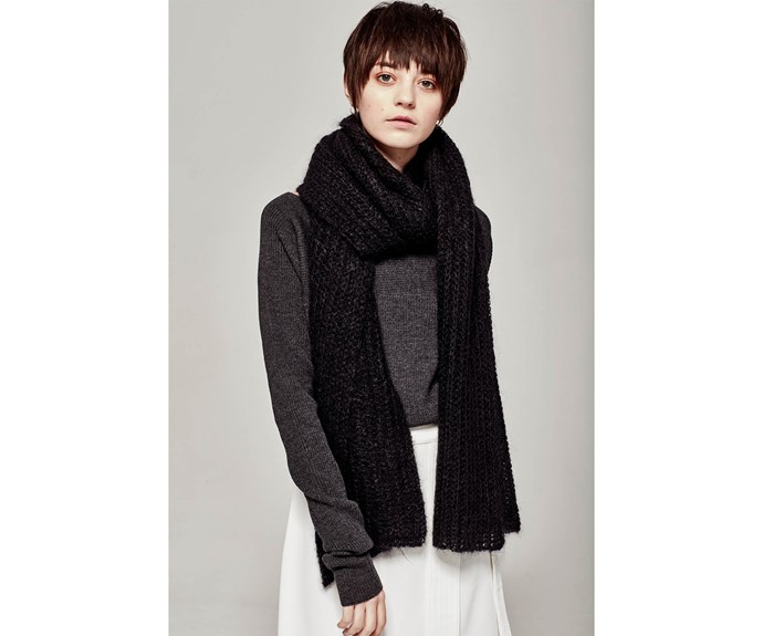 [Scarf, $220, by Marle.](https://www.marle.co.nz/products/clementine-scarf-black?variant=34293881036)