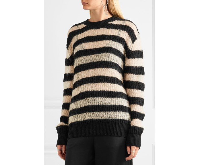 [McQ Alexander McQueen jumper, US$524, from Net-a-Porter.](https://www.net-a-porter.com/nz/en/product/888627/McQ_Alexander_McQueen/striped-wool-blend-sweater)