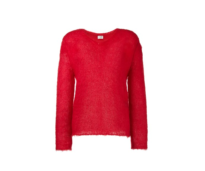 [Saint Laurent jumper, $746, from Browns.](https://www.brownsfashion.com/uk/shopping/knitted-v-neck-jumper-12189082?utm_source=LinkshareUK&utm_medium=Affiliate&utm_campaign=Hy3bqNL2jtQ&utm_content=10&utm_term=UKNetwork&ranMID=35118&ranEAID=Hy3bqNL2jtQ&ranSiteID=Hy3bqNL2jtQ-nI8ppRXueJ86yie63g01.w)