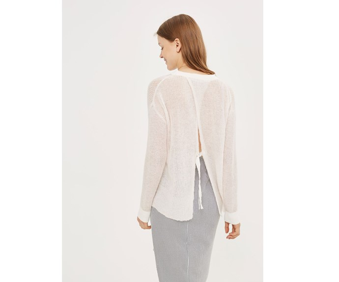 [Jumper, $64, by Topshop.](http://www.topshop.com/en/tsuk/product/petite-gauzy-open-back-jumper-6675244?bi=0&ps=20)