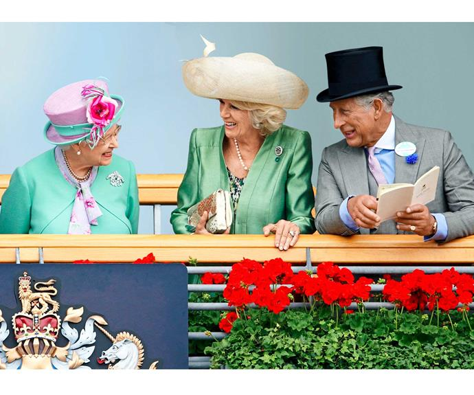 The Queen, the Duchess and Prince Charles at Ascot races.