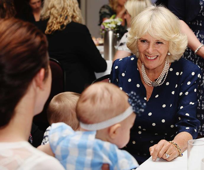 While in New Zealand in 2015, Camilla met mothers and babies at an introduction to the Bellyfull charity.