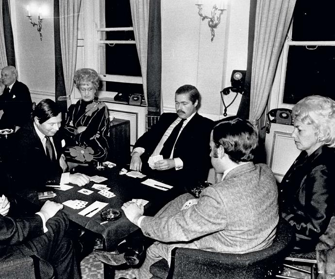 """Known as """"Lucky"""" Lucan, the Earl was a gambler, shown here playing cards in a London club. He was in debt and being hounded by creditors when he vanished."""