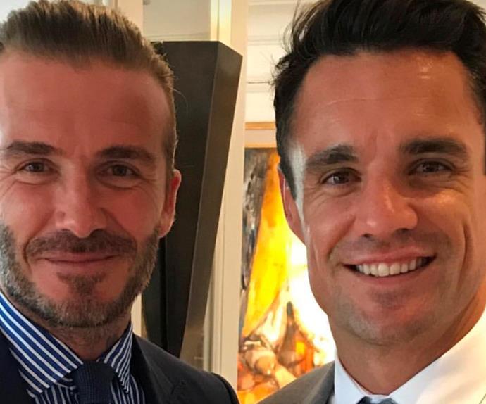 Dan Carter and David Beckham at Wimbledon.