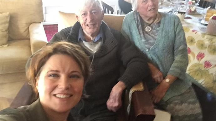 Lucy Lawless with her father Frank Ryan and her mother Julie Ryan