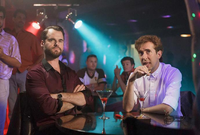 Todd, pictured with his *Westside* co-star David de Lautour, plays career criminal and closet homosexual Bilkey.