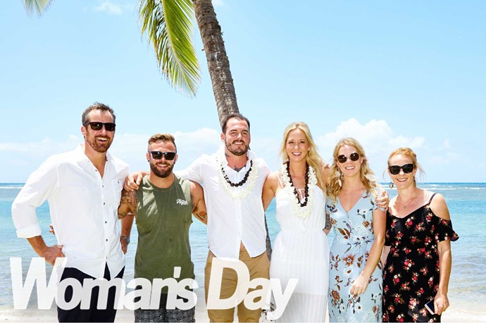 The happy couple with (from left) Matthew Burt, Little Dylz – who promised to buy a white shirt in Hawaii, but forgot – Libby's sister Jo and best friend Jade Burt.