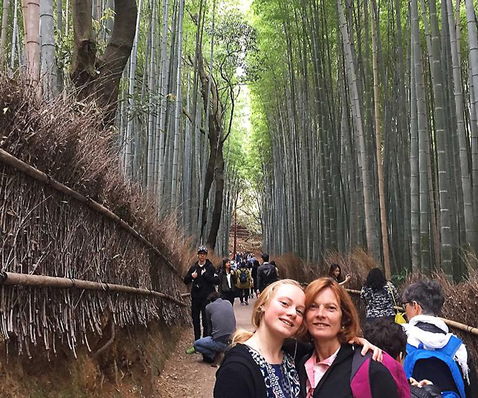 Kevin's wife Linda and daughter Tommie in Kyoto's bamboo forest.