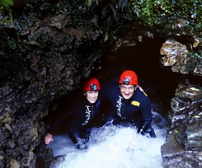 The intrepid duo follow up their run with a visit to Waitomo Caves.