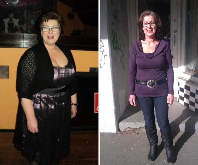 Averil's before and after pics. She lost 33kg in the space of just over a year.