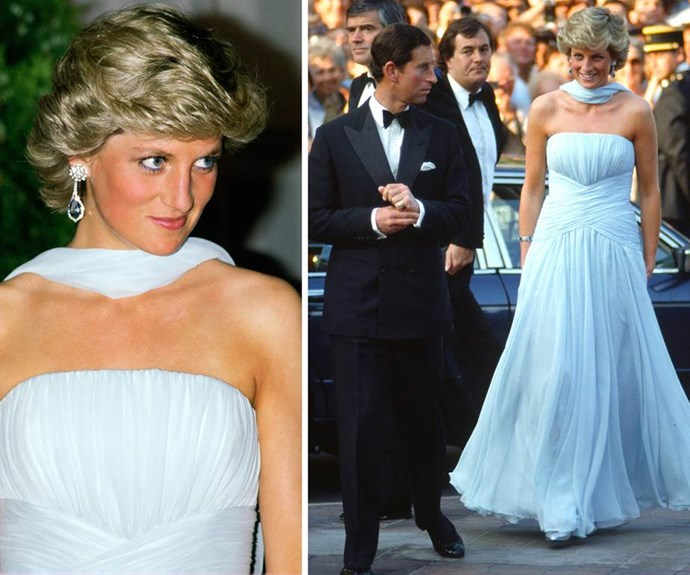 The belle of the ball: Di captured our attention in this cloud-soft blue gown in 1987 as she attended Cannes Film Festival with Charles.
