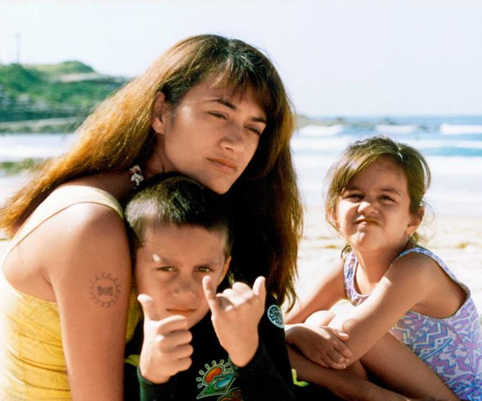 They always loved the beach - a young Turia with brother Genji and mother Celestine on the NSW South Coast.