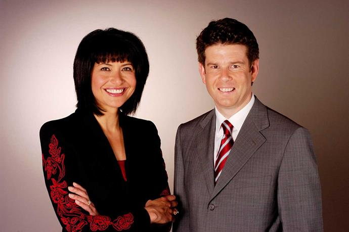 With her partner in broadcasting, John Campbell.
