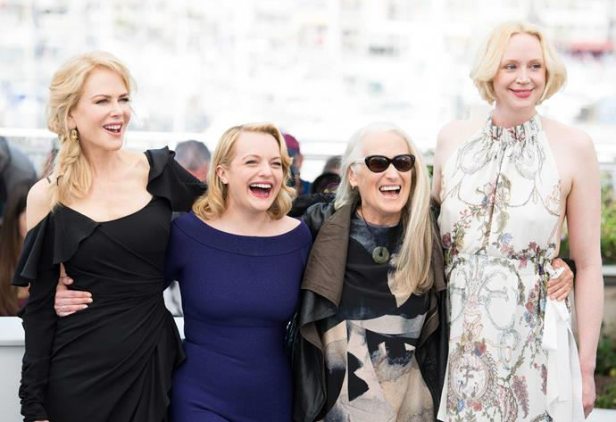 Top of the Lake line-up at Cannes this year, from left: Nicole Kidman, Elisabeth Moss, Jane Campion and English actress Gwendoline Christie (Game of Thrones), who plays Detective Robin Griffin's crime-solving partner.