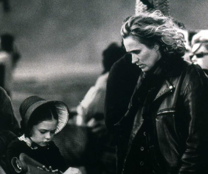 Jane and a young Anna Paquin at work on the 1993 film *The Piano*.