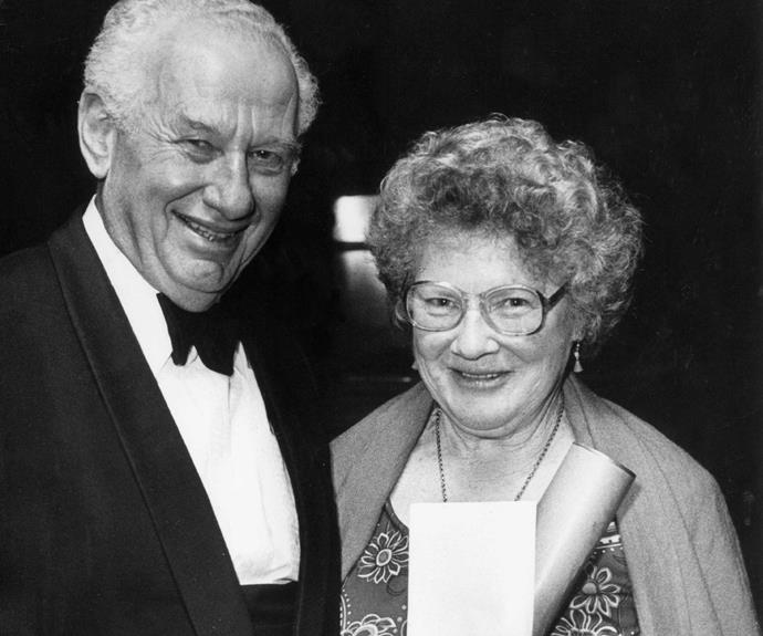 Arts philanthropist Fred Turnovsky and Janet at an award ceremony in 1984.