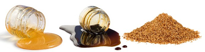 Agave syrup, Rice malt syrup, Coconut sugar