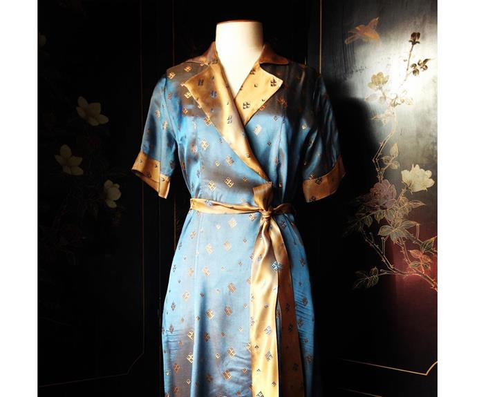 A satin 1920s house coat at Ziggurat, @ziggurat_shop.