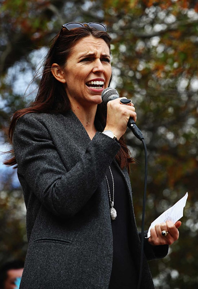 Jacinda addresses the crowd during the March for Moko, to bring awareness to child abuse and family violence.