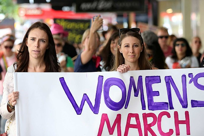 Taking part in the Women's March earlier this year next to singer Lizzie Marvelly.