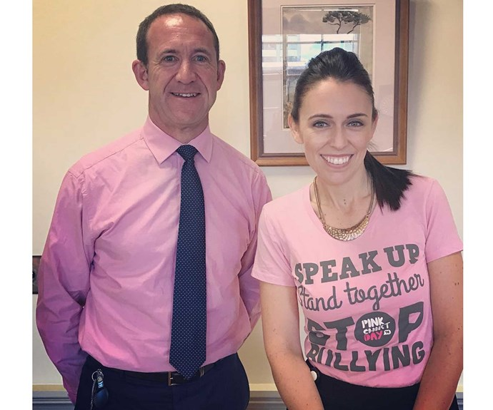 Jacinda and Labour's Andrew Little dressed up in pink shirts to make a stand against bullying on Pink Shirt Day.
