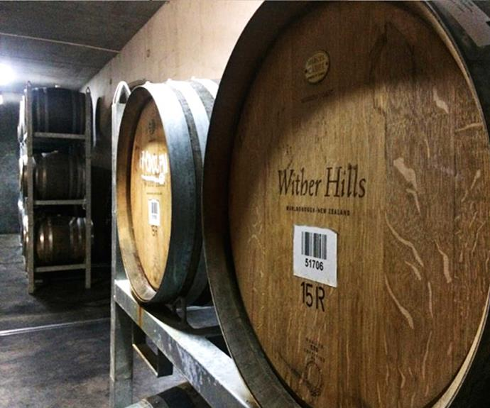Superb wine takes time! Barrels of the winery's finest stored in the cellar.