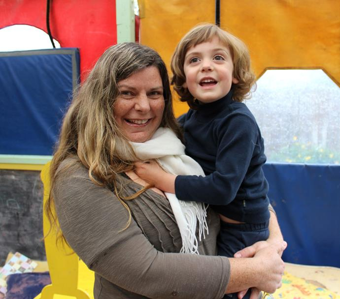 Mothers Helpers founder Kristina Paterson with her son.