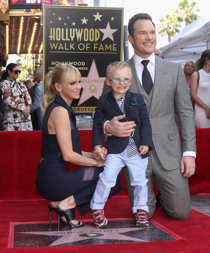 The couple with their son Jack at Chris' Hollywood Walk of Fame ceremony in April. Photo: Getty