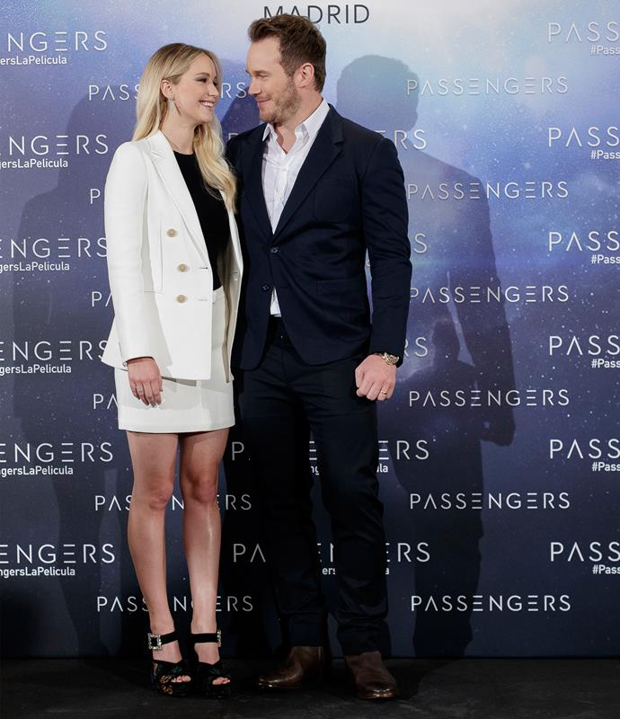 Chris and Jennifer starred together in the 2016 film *Passengers*.