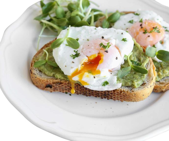 **Start the day right:** Breakfast is vital as it lifts the low blood sugar levels that have developed during the night. Eating a good combination of protein, healthy fats and low GI (slow releasing) carbohydrates is essential to balancing blood sugar levels, controlling your cravings and keeping your energy up throughout the day. Think eggs on a piece of wholemeal toast with avocado and tomato for a great start to your day.