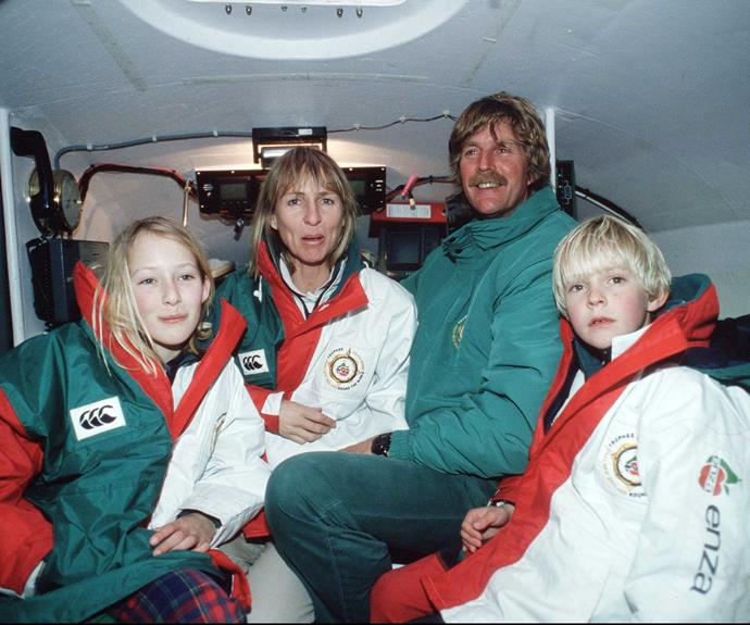 The Blake family in 1994 on ENZA New Zealand, the boat in which Peter won the Jules Verne Trophy for sailing around the world non-stop.