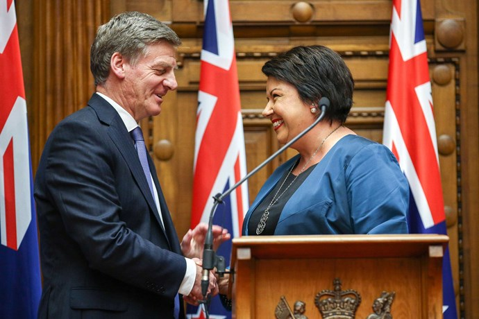 Prime Minister Bill English shakes hands with his deputy, Paula Bennett.
