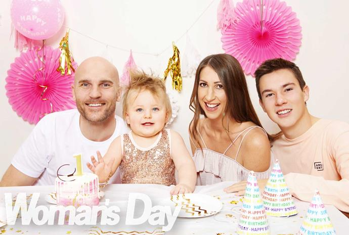 *Shorty's* Ben Barrington, his partner Kristie, their one-year-old daughter Harley and Kristie's son Olly, 15.