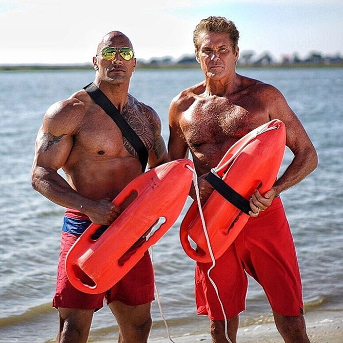Dwayne Johnson (pictured here with David Hasselhoff on set of the *Baywatch* movie) came in second place on this year's list.