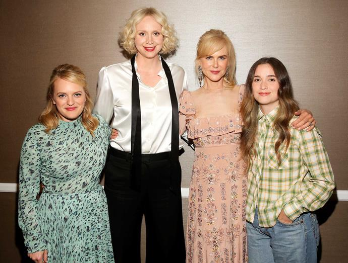 The young actress with her illustrious *Top of the Lake* co-stars (from left) Elisabeth, Gwendoline and Nicole, who plays her adoptive mother.