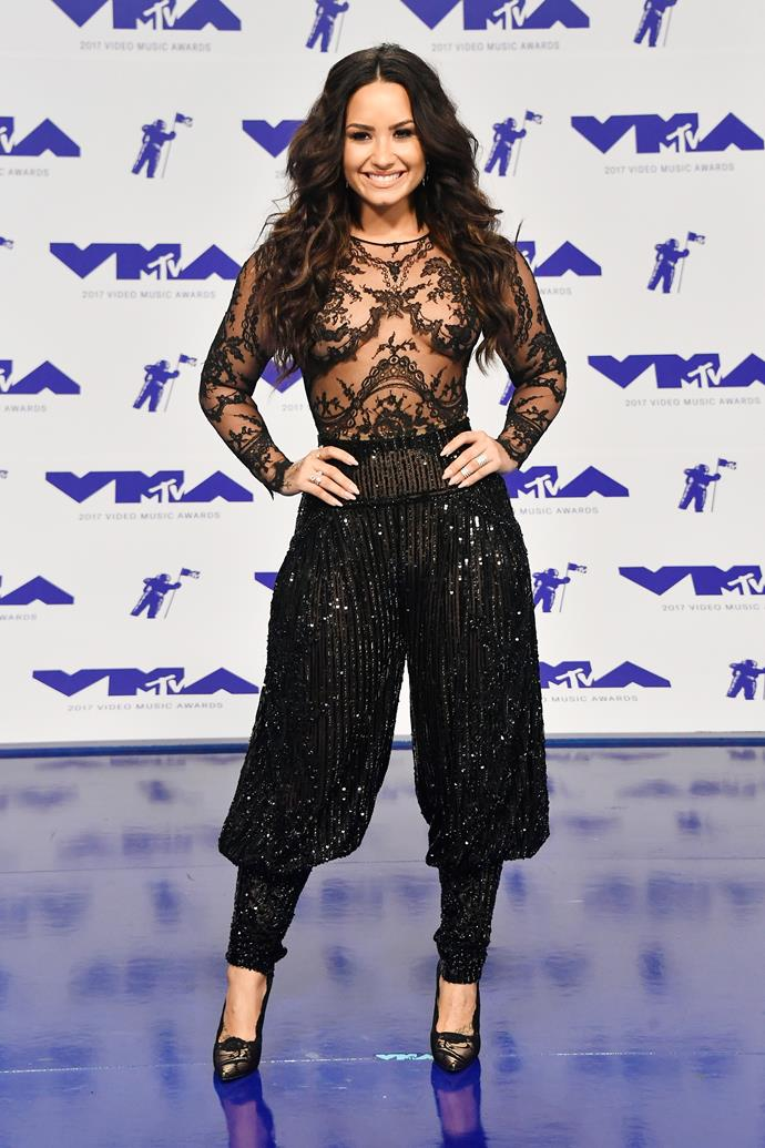 **WORST - Demi Lovato:** Demi's sparkling harem pants were an odd choice for the singer, and the ensemble as a whole wasn't the most flattering.