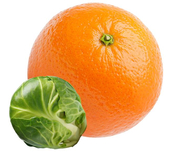 The best dietary sources of vitamin C are oranges, red and yellow capsicums, kale, Brussels sprouts, broccoli, kiwifruit, grapefruit, guava, strawberries and papaya.