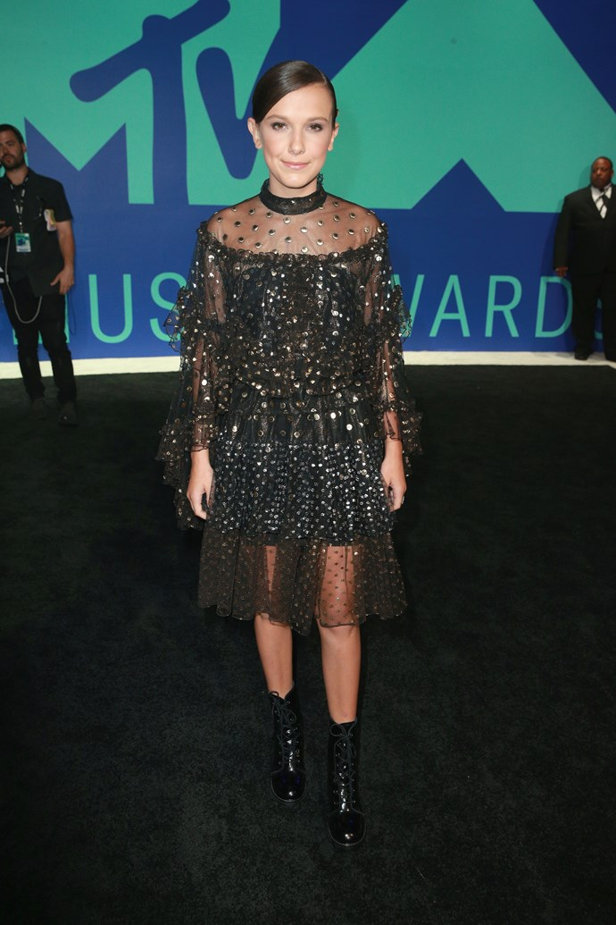 **BEST - Millie Bobby Brown:** The *Stranger Things* breakout star continues to showcase a preternatural sense of style savvy, and her utterly cool dress and boots combo at the VMAs was yet another great look from the young actress.