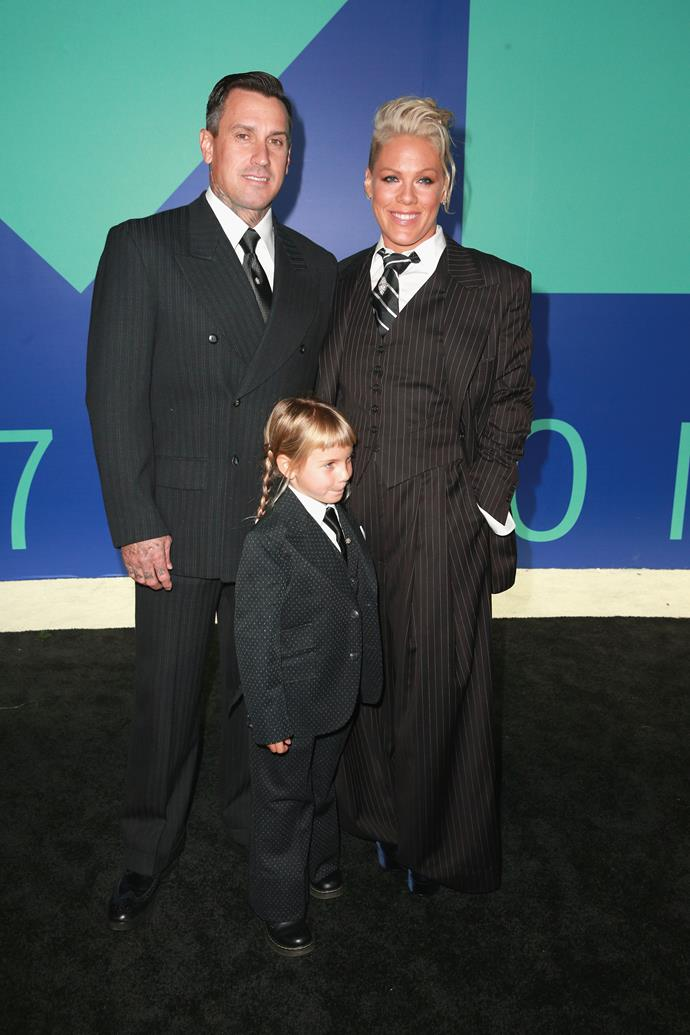 **BEST - Pink:** The singer and mum-of-two nailed it in the fashion stakes, looking perfectly put together in this crisp suit. Plus, she had the cutest dates on her arms for the ceremony - hubby Carey Hart and daughter Willow, all dressed to match!