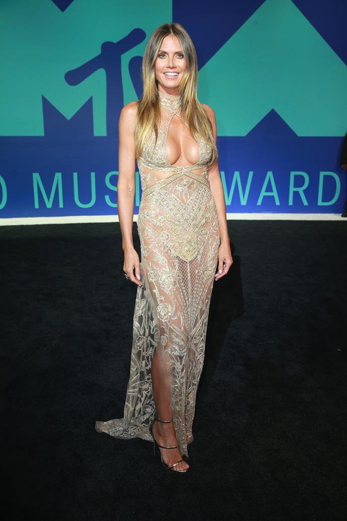 **WORST - Heidi Klum:** The model's fit and fab figure is certainly showcased in this clinging number, but the uninspired colour and abundance of extra embellishments make this a miss.