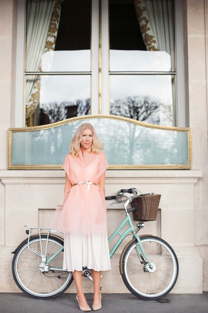 Kerrie Hess photographed outside her favourite hotel in Paris, Le Meurice.