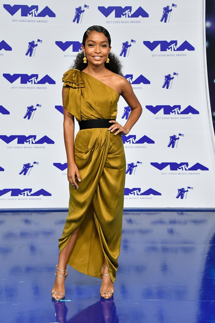 **BEST - Yara Shahidi:** The *Black-ish* star looked elegantly timeless in this Grecian-inspired gown, and the striking colour ensured she turned plenty of heads at the event.