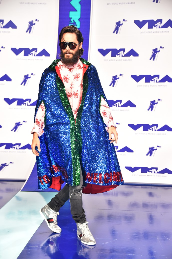 **WORST - Jared Leto:** The actor's vibrantly sequinned robe clashed with his long-sleeved pink shirt.