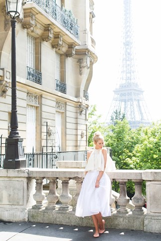 Kerrie on the Right Bank with the Eiffel Tower behind her.