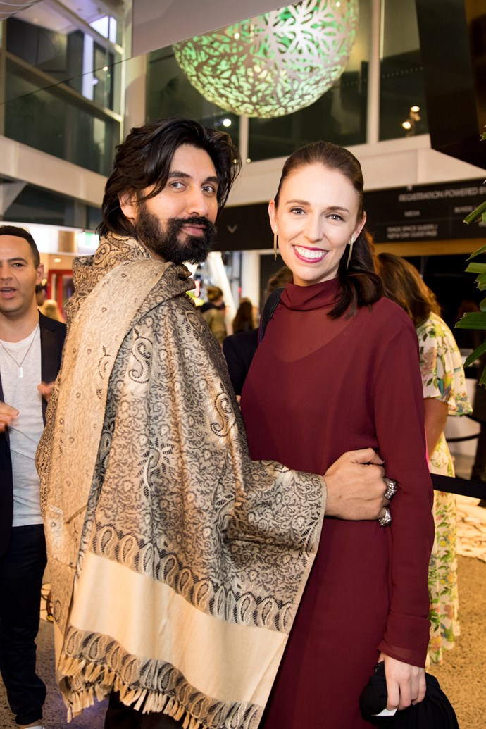 Colin Mathura-Jeffree and Labour Party Leader Jacinda Ardern hit the festivities at the opening night of New Zealand Fashion Week. Photo: Carmen Bird
