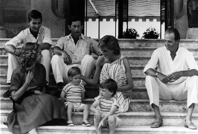 The family are pictured in Spain.