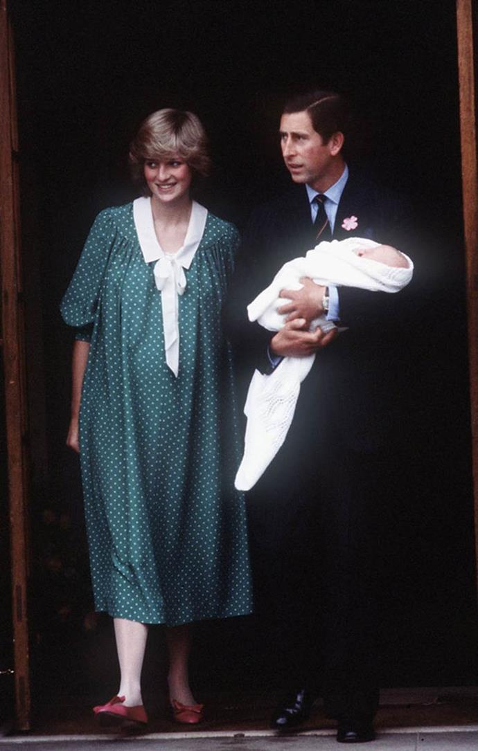 Diana and Charles are pictured leaving the hospital with a newborn Prince William.