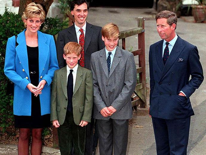 The family pose with William on his first day at Eton College.