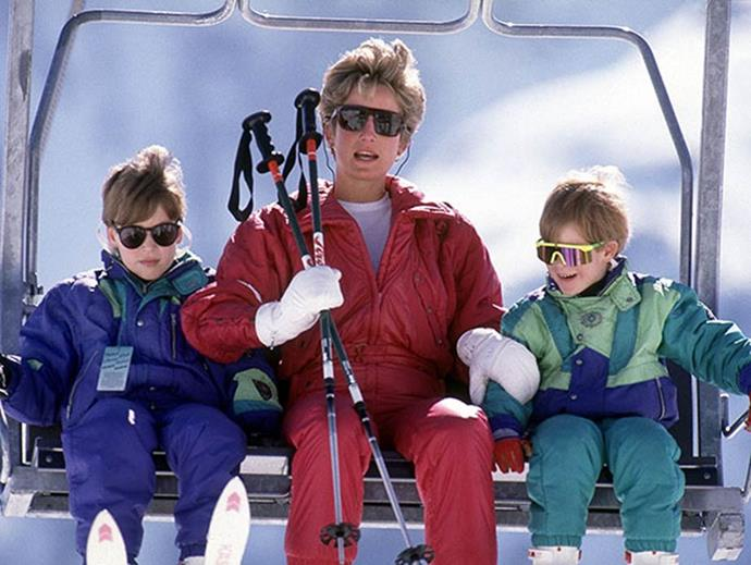 The trio are pictured on a skiing trip.