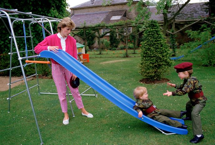 Back in the Highgrove Gardens, the royal brothers have some fun on the playground.